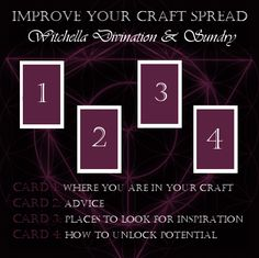 """witchella: """" A spread to help you find ways to improve your craft! """""""
