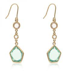 14k Gold Bonded to Sterling Silver Spring Earrings with Aquamarine CZ and Clear Accents in Goldtone. #mycustommade