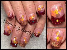 Nails by Becky Richardson acrylic glitter sparkle fall leaves brown yellow orange red gold French Nail Designs, Fall Nail Designs, Fall Nail Art, Autumn Nails, Christmas Nail Art, Holiday Nails, Thanksgiving Nails, Thanksgiving Wedding, Girly Things