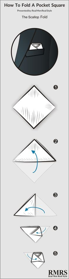 How To Fold A Pocket Square – The Scallop | Infographic