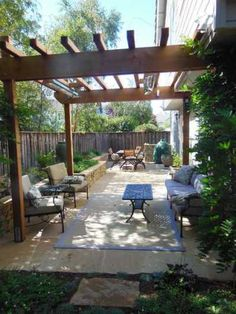 Small Backyard Patio Ideas Patio Ideas for Small Backyards Small Backyard Patio Ideas. Ideas for small backyard patios are endless! Don't be discouraged if your backyard is tiny and you think… Small Patio Spaces, Small Outdoor Patios, Outdoor Patio Designs, Pergola Designs, Outdoor Gardens, Pergola Ideas, Patio Ideas, Backyard Ideas, Small Gardens