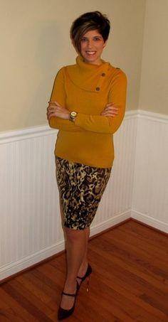 Target Leopard Skirt/Banana Republic Outlet Mustard Sweater/Macy's Maroon Patent Leather Mary Jane's