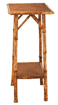 tortoise shell table | Victorian Tortoise Shell Bamboo and Woven Cane Plant Stand at 1stdibs