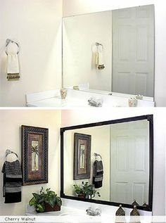 Framing A Bathroom Mirror Before And After how to frame a mirror with clips in 5 easy steps | house, bath and