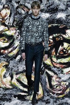 Lily of the Valley print and polka dots at Dior Homme AW14. More images here: http://www.dazeddigital.com/fashion/article/18509/1/paris-aw14-gifs