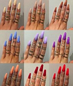 colorful choice of coffin shaped nails❤