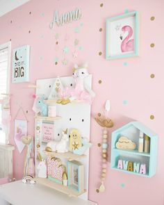 More pretty pastel goodness and cute pegboard styling! pegboard pegboardinspiration is part of Pastel girls room - Girl Bedroom Designs, Room Ideas Bedroom, Baby Room Decor, Girls Bedroom, Pastel Room Decor, Pastel Bedroom, Kid Bedrooms, Baby Bedroom, Pastel Girls Room