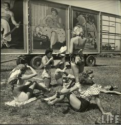 """Shot by the acclaimed photographer Nina Leen in 1949, we find our sassy subculture of circus girls in Sarasota, Florida, dubbed """"the home of the American circus""""."""