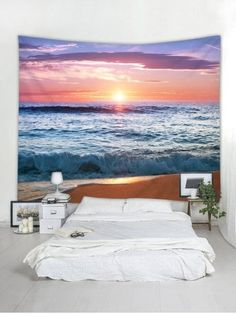 Wall Tapestries for Any Decor Style Beach Dorm Rooms, Beach Bedroom Decor, Bedroom Themes, Bedroom Ideas, Tapestry Bedroom, Tapestry Wall Hanging, Wall Hangings, Beach Scenery, Sunset Beach