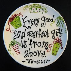 Hand Painted Ceramic Christmas Plate - Every Good and Perfect Gift The original artwork on each piece is hand painted using non toxic underglazes and kiln fired. I'm more than happy to create a custom design just for you. Christmas Plates, Christmas Fun, Holiday Fun, Christmas Cookies, Christmas Wreaths, Christmas Decorations, Christmas Ornaments, Sharpie Plates, Sharpie Crafts