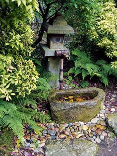 Tsukubai Water Fountains, Japanese Garden Design Ideas Small outdoor water fountains are important garden decorations for creating beautiful oriental garden design and backyard landscaping ideas Asian Garden, Japanese Garden Backyard, Small Japanese Garden, Japanese Garden Design, Easy Garden, Japanese Gardens, Bamboo Garden, Japanese Style, Japanese Water
