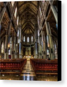 The interior of The Cathedral of Our Lady of Nahuel Huapi, also San Carlos de Bariloche Cathedral. It is the main Catholic temple of this city, in the province of Rio Negro, Argentina. The image gets printed onto one of our premium canvases and then stretched on a wooden frame of stretcher bars. Click through the image to customize your print for your home or office! Travel art for your wall by Eduardo Jose Accorinti.