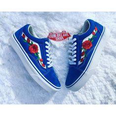 Rose Vans Custom Vans Embroidered Vans Rose Vans Custom Shoes Custom... ($115) ❤ liked on Polyvore featuring shoes, sneakers, blue, sneakers & athletic shoes, unisex adult shoes, blue shoes, rose shoes, rose sneakers, unisex sneakers and unisex shoes