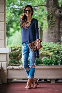 Free People Drop Shoulder Hacci Top, comes in multiple colors [wearing an XS] | Free People 'Whitney' Bra | BLANKNYC Distressed Denim | Dolce Vita 'Nakita' Woven Leather Sandal | Baublebar Courtney Bib in Gold | Clare V. Leopard Fold Over | Michael Kors 'Runway'...