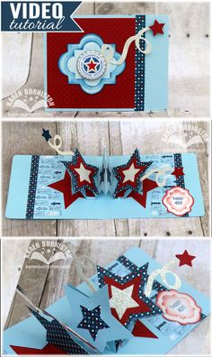 Pop-up Triple Star Card in Patriotic Theme using Sizzix Pop 'n Cuts dies. (Can also be made as birthday, celebration, sports, Christmas, etc.) Video Tutorial.