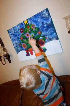 A DIY Christmas on a budget - a Funky Christmas Tree Painting to create with your kids for your holiday decorating