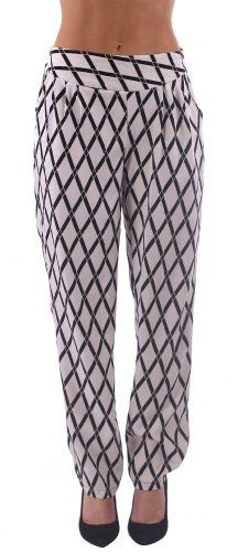 6c9b0a787e3 Dinamit Women s Black White Harem Pants with Back Tie – Fashion Outlet NYC