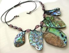 Paua Shell New Zealand Abalone Statement Necklace by KillerJewels