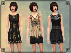 6 Art Deco Inspired Dresses by notegain at The Sims Resource via Sims 4 Updates