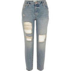 River Island Mid blue ripped boyfriend jeans ($84) ❤ liked on Polyvore featuring jeans, bottoms, pants, blue, boyfriend / slouch jeans, women, ripped jeans, distressed denim jeans, denim jeans and tall boyfriend jeans