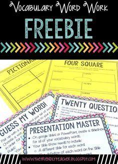 Vocabulary word work organization for upper elementary! Freebie inside!