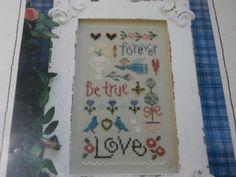 Unframed handmade Love Sampler cross stitch by CustomCraftJewelry