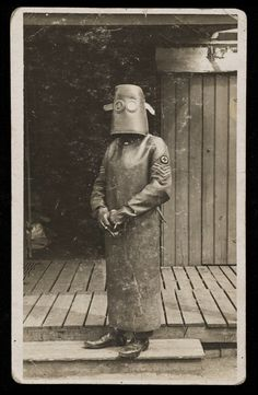 Radiographer wearing X-Ray Protection Mask,  World War One.