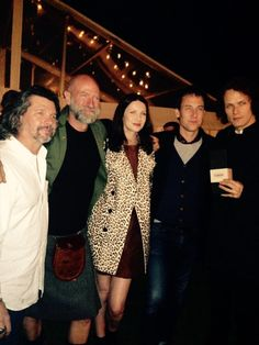 Great #Outlander dinner with @RonDMoore @TobiasMenzies @caitrionambalfe @SamHeughan