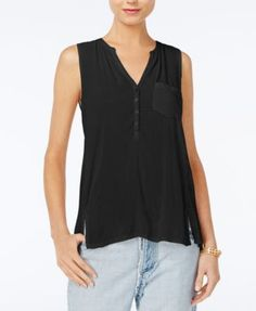 Lucky Brand Button-Neck Back-Panel Top