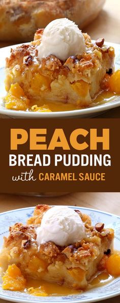 Fresh Fruit Desserts, Köstliche Desserts, Delicious Desserts, Dessert Recipes, Yummy Food, Pudding Desserts, Bread Pudding Recipes, Desserts With Peaches, Easy Bread Pudding