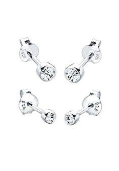 6fe06aa7408d Elli Damen-Ohrstecker-Set Basic 925 Sterlingsilber mit Kristallen von  Swarovski Hochwertige Ohrringe aus