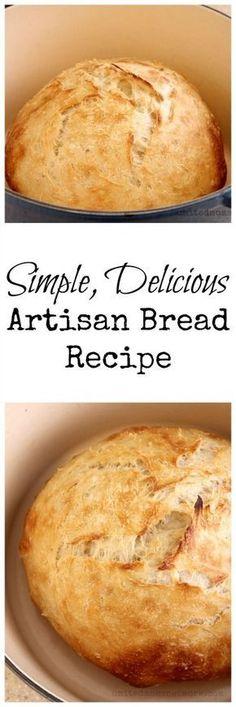 very simple, Artisan bread recipe.A very simple, Artisan bread recipe. Artisan Bread Recipes, Bread Machine Recipes, Easy Bread Recipes, Baking Recipes, Cornbread Recipes, Jiffy Cornbread, Simple Bread Recipe, Chef Recipes, Fresh Yeast Bread Recipe