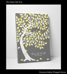 Guest Book Tree - Bridal Shower Guest Book - Unique Bridal Gift - 16x20 100 Guest Sign In - Gallery Stretched Canvas