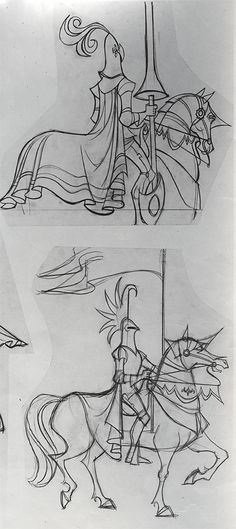 Love the masterful proportion, drapery, and anatomy with equally balanced style in these Oreb drawings for Sleeping Beauty
