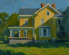 """Daily Paintworks - """"Yellow house"""" - Original Fine Art for Sale - © Kathy Weber"""