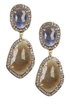 Mixed Sapphire & Champagne Diamond Earrings on HauteLook