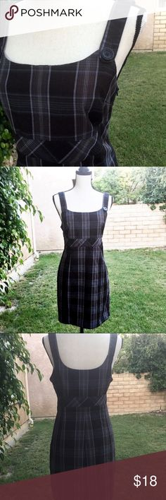 """Plaid Jumper Dress School Retro Preppy 11 Side zipper, done in plaid with buttoned straps, so cute! Can be worn into the cooler weather with tights and boots. Done in black, blue and gray tones, size 11. It's not flannel, but it has the look of flannel.   🍃🍃🍃🍃 Chest-36"""" Waist-32"""" Length-24"""" taken from side seam, under the arm.  🍃🍃🍃🍃  Fabric-Poly, rayon, spandex Condition-Excellent pre owned condition Non-smoking home School girl, hipster, emo, nerd chic, uniform  🍃Offers welcome 🍃…"""