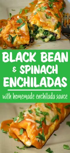 Our favorite enchiladas! Easy vegan black bean enchiladas with spinach and sweet corn. Smothered in the most amazing homemade enchilada sauce! Vegan Mexican Recipes, Healthy Recipes, Vegan Black Bean Recipes, Tasty Vegetarian Recipes, Vegetarian Barbecue, Going Vegetarian, Vegan Vegetarian, Enchilada Recipes, Enchilada Sauce