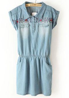 Blue Embroidery Lapel Double Pockets Denim Dress