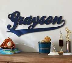 Varsity Font Name #pbkids love this personalized name frame for a baseball theme room.