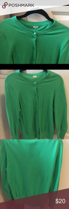 J Crew Green Cardigan Green cardigan with green buttons up the front. Size M. Gently worn. J. Crew Sweaters Cardigans