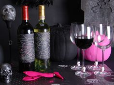 Spiderweb wine labels.