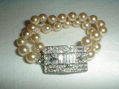 kenneth jay lane bracelet art deco bracelet crystal pearl bracelet bridal bracelet sparkling bracelet double strand bracelet kjl jewelry