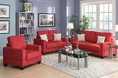 3-Pcs Sofa Set Upholstered in Coral Colored Microsuede by Poundex