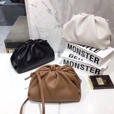 Handmade The Pouch - genuine calf leather - large clutch, cloud bag, smooth leather clutch, oversize Large Leather Tote Bag, Black Leather Crossbody Bag, Black Leather Bags, Calf Leather, Leather Purses, Leather Shoulder Bag, Classy Outfits For Women, Oversized Clutch, Structured Bag