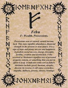 norsewarlock:  RUNE OF THE DAY! FEHU for FREYA! HAPPY MOTHER'S DAY! BLESSINGS! GALLAN www.facebook.com/pages/The-Norse-Warlock/113159862098696: