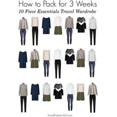 If you're traveling for longer than a week you don't pack more you just choose items that can mix and match - enough to have unique travel outfits every day of the week. This is an example of how to pack for 3 weeks using 10 Pieces from my Signature Packing List: Essentials