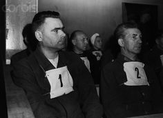 Nazi War Criminals Waiting in Court - - Rights Managed - Stock Photo - Corbis. Original Germany-Joseph Kramer, Commandant of the Belsen concentration camp and Fritz Klein, the camp doctor, sit in the dock before a British Court in Luneburg. Nuremberg Trials, Political Beliefs, The Third Reich, Lest We Forget, Bergen, World War Ii, Wwii, Stock Photos, Police
