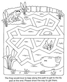frog to pond simple maze: inkspired musings: Spring vintage clip, mazes and a Sandra L. Fun Worksheets For Kids, Mazes For Kids, Preschool Literacy, Kindergarten, Pre K Activities, Pond Life, Water Animals, Daycare Crafts, Frog And Toad