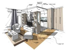 Admirable Techniques for Sketches - Architecture Admirers Interior Design Renderings, Drawing Interior, Interior Rendering, Interior Sketch, Interior Architecture, Architect Student, Architect Logo, Architect House, Sketches Arquitectura